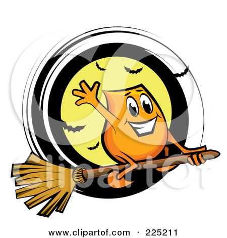 Royalty-Free (RF) Clipart Illustration of a Blinky Cartoon Character Flying On A Broomstick Over A Full Moon With Bats by MilsiArt