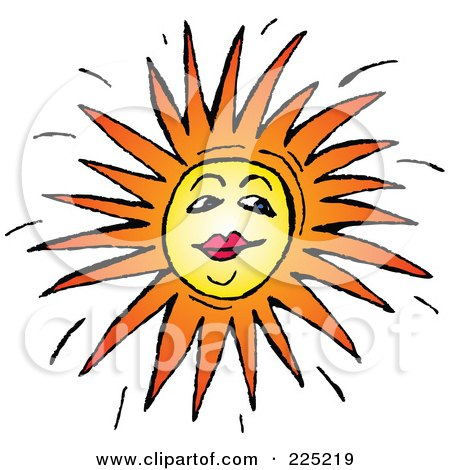 Royalty-Free (RF) Clipart Illustration of a Sun Face With Red Lips by Prawny