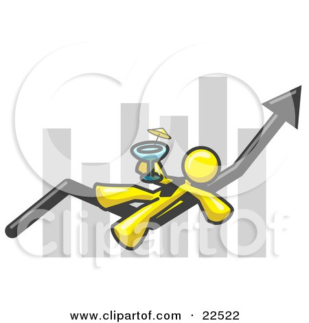 Clipart Illustration of a Yellow Business Owner Man Relaxing on an Increase Bar and Drinking, Finally Taking a Break by Leo Blanchette