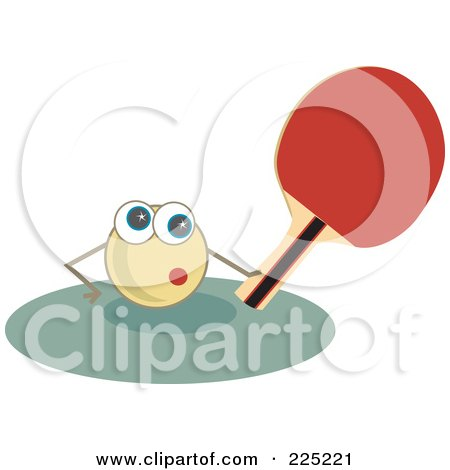Royalty-Free (RF) Clipart Illustration of a Ping Pong Ball Holding A Paddle by Prawny
