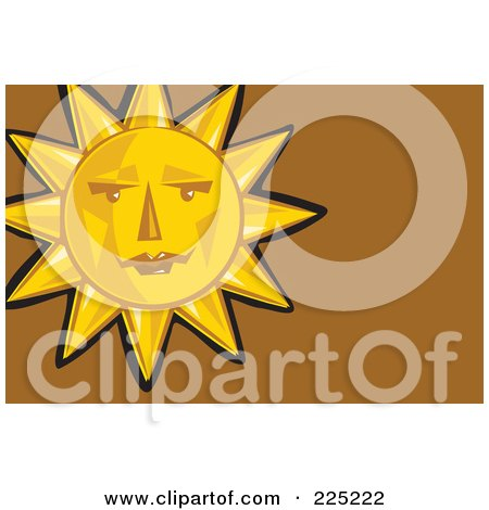 Royalty-Free (RF) Clipart Illustration of a Sun Face Over Brown by Prawny