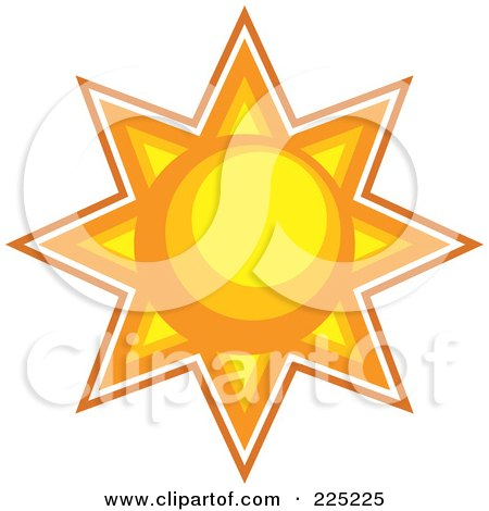 Royalty-Free (RF) Clipart Illustration of a Yellow And Orange Burst Sun by Prawny