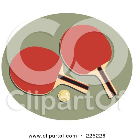 Royalty-Free (RF) Clipart Illustration of a Ping Pong Ball And Paddles Over A Green Oval by Prawny