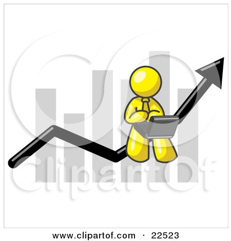 Clipart Illustration of a Yellow Man Using a Laptop Computer, Riding the Increasing Arrow Line on a Business Chart Graph by Leo Blanchette