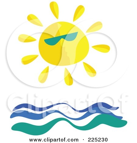 Royalty-Free (RF) Clipart Illustration of a Sun Wearing Shades Over Ocean Waves by Prawny