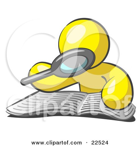 Clipart Illustration of a Yellow Man Using A Magnifying Glass To Examine The Facts In The Daily Newspaper by Leo Blanchette
