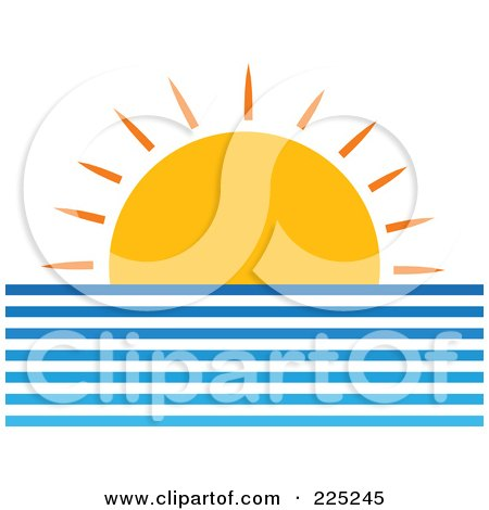Royalty-Free (RF) Clipart Illustration of a Setting Sun Over The Ocean's Horizon by Prawny