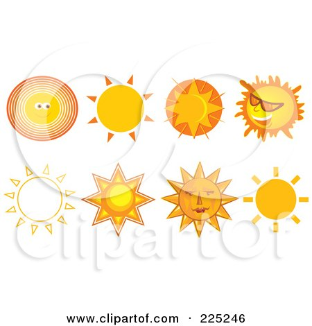 Royalty-Free (RF) Clipart Illustration of a Digital Collage Of Eight Sun Designs by Prawny