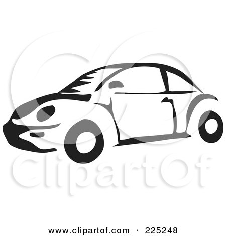 royalty free rf clipart illustration of a black and white vw bug rh clipartof com vw bug clip art free