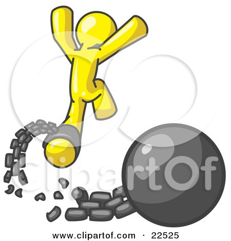 Clipart Illustration of a Yellow Man Jumping For Joy While Breaking Away From a Ball and Chain, Symbolizing Freedom From Debt Or Divorce by Leo Blanchette