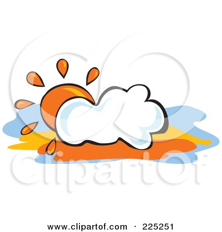 Royalty-Free (RF) Clipart Illustration of an Orange Sun Behind A Puffy White Cloud by Prawny
