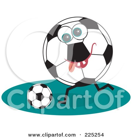 Royalty-Free (RF) Clipart Illustration of a Soccer Ball Character Kicking A Ball by Prawny