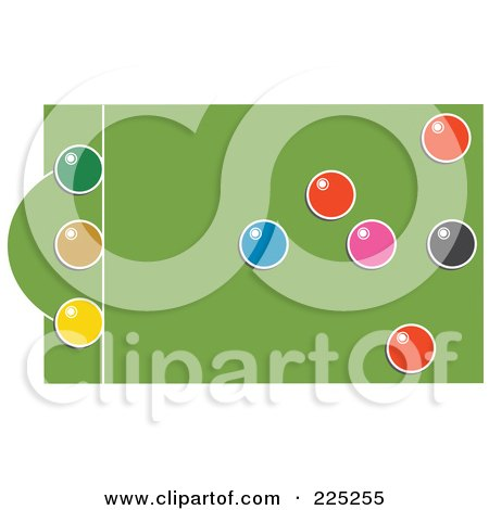 Royalty-Free (RF) Clipart Illustration of a Snooker Table With Colorful Balls - 2 by Prawny
