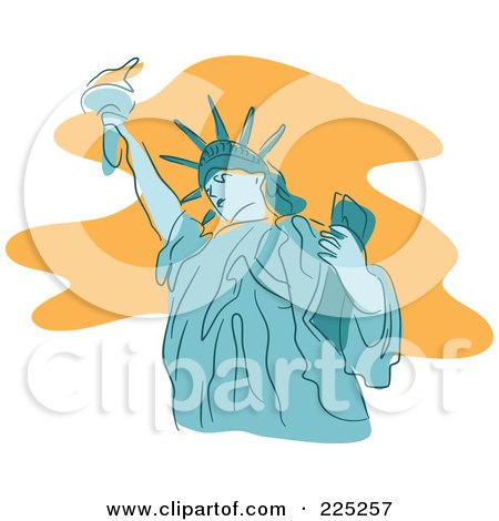 Royalty-Free (RF) Clipart Illustration of a Blue Statue of Liberty by Prawny
