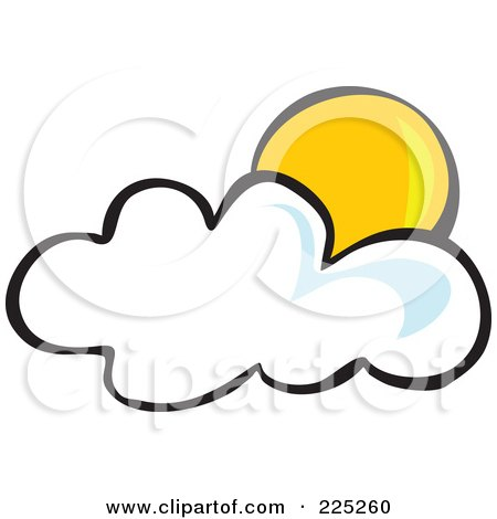 Royalty-Free (RF) Clipart Illustration of a Yellow Sun Behind A Puffy White Cloud by Prawny