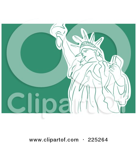 Royalty-Free (RF) Clipart Illustration of a White Statue of Liberty On Green by Prawny