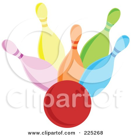 Royalty-Free (RF) Clipart Illustration of a Red Bowling Ball Hitting Colorful Pins by Prawny