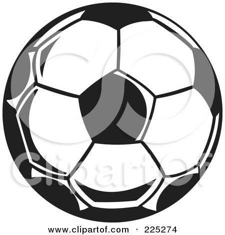 Royalty-Free (RF) Clipart Illustration of a Black And White Soccer Ball by Prawny
