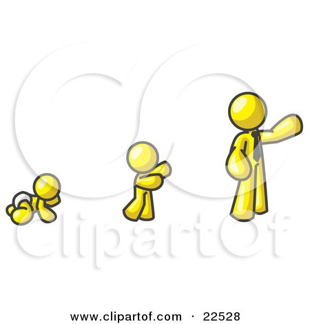 Clipart Illustration of a Yellow Man in His Growth Stages of Life, as a Baby, Child and Adult by Leo Blanchette
