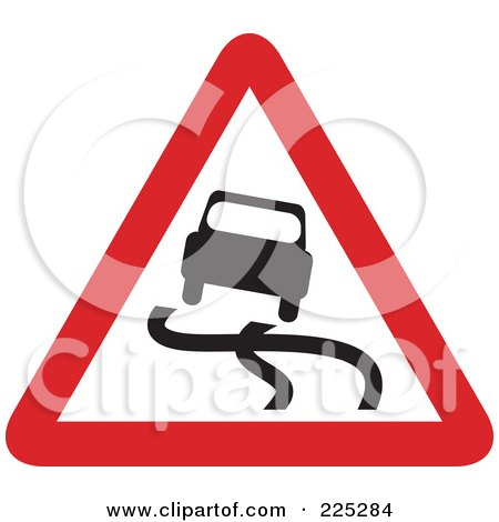 Royalty-Free (RF) Clipart Illustration of a Red And White Slippery Road Triangle Sign by Prawny