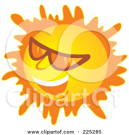 Royalty-Free (RF) Clipart Illustration of a Laughing Sun Wearing Shades by Prawny