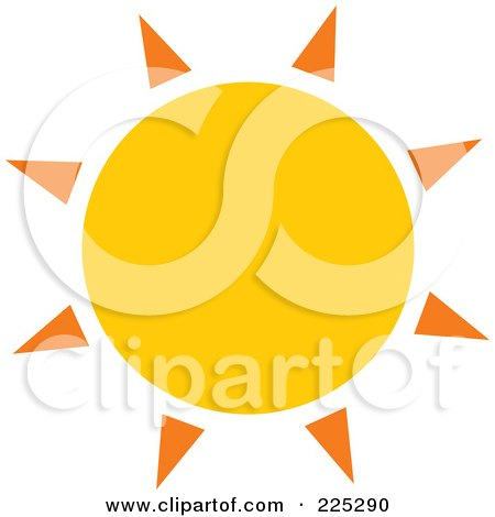 Royalty-Free (RF) Clipart Illustration of a Yellow Sun With Orange Spikes by Prawny