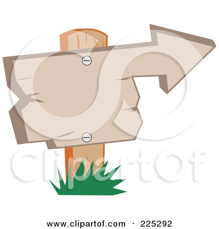 Royalty-Free (RF) Clipart Illustration of a Wooden Arrow Sign Pointing To The Right by Prawny