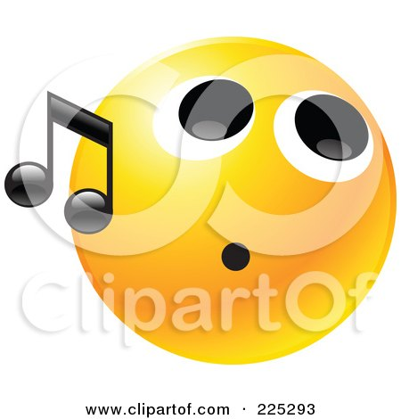 Royalty-Free (RF) Clipart Illustration of a Yellow Smiley Face Whistling With A Black Music Note by Tonis Pan