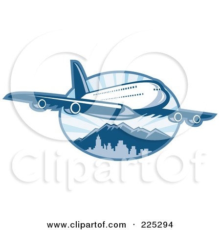 Royalty-Free (RF) Clipart Illustration of a Blue Airplane Over Mountains Logo by patrimonio