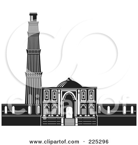 Royalty-Free (RF) Clipart Illustration of The Qutb Minar In Black And White by patrimonio