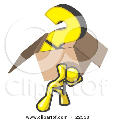 Clipart Illustration of a Yellow Man Carrying a Heavy Question Mark in a Box by Leo Blanchette
