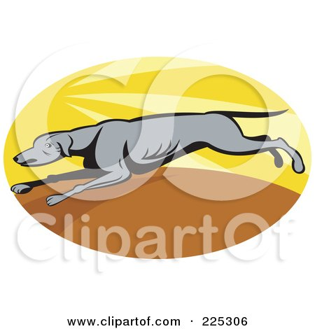 Royalty-Free (RF) Clipart Illustration of an Oval Running Greyhound Logo by patrimonio
