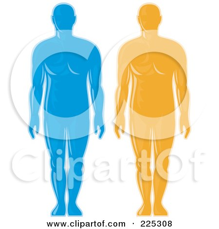Royalty-Free (RF) Clipart Illustration of a Digital Collage Of Blue And Orange Male Body Logos by patrimonio