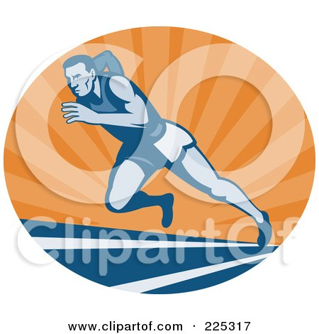Royalty-Free (RF) Clipart Illustration of a Blue Runner On A Track At Sunrise Logo by patrimonio