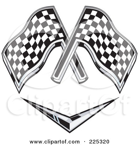 Royalty-Free (RF) Clipart Illustration of a Retro Racing Flags Over A Chevron Symbol by patrimonio