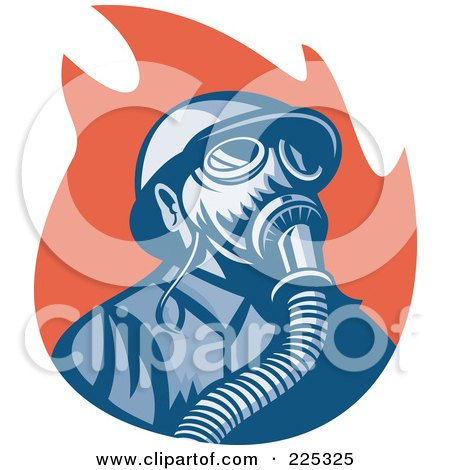 Royalty-Free (RF) Clipart Illustration of a Retro Fireman Wearing A Gas Mask Over Red Flames by patrimonio