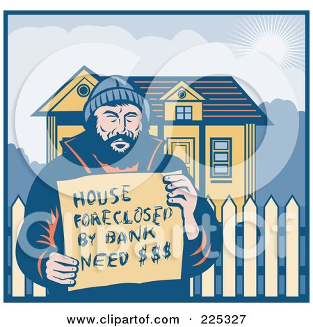 Retro Man Holding A House Foreclosed By Bank, Need Money Sign By His Home Posters, Art Prints