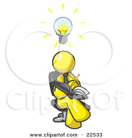 Clipart Illustration of a Smart Yellow Man Seated With His Legs Crossed, Brainstorming and Writing Ideas Down in a Notebook, Lightbulb Over His Head by Leo Blanchette
