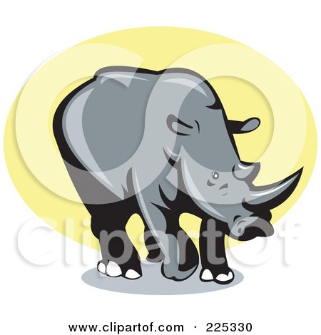 Royalty-Free (RF) Clipart Illustration of a Rhino Over Yellow Logo by patrimonio