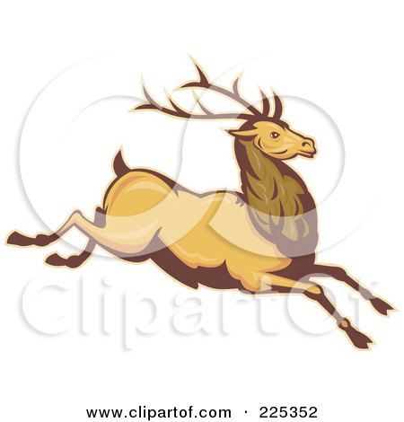 Royalty-Free (RF) Clipart Illustration of a Leaping Deer Stag by patrimonio
