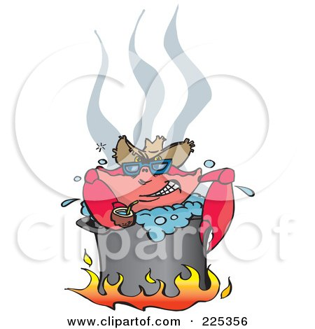 Royalty-Free (RF) Clipart Illustration of a Happy Crab Drinking Coconut Milk While Boiling Over A Fire In A Pot by Dennis Holmes Designs