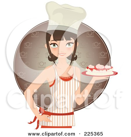 Royalty-Free (RF) Clipart Illustration of a Pretty Brunette Chef Woman Holding A Cake And Wearing An Apron Over A Brown Circle by Melisende Vector