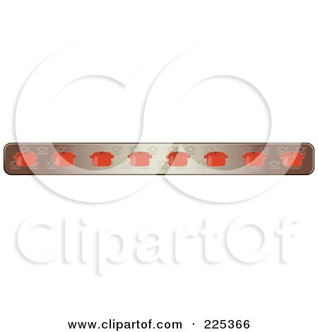 Royalty-Free (RF) Clipart Illustration of a Border Of Red Pots Over Brown, With White Corners by Melisende Vector