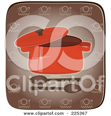 Royalty-Free (RF) Clipart Illustration of a Lid On A Red Pot With Spoons Over A Brown Square by Melisende Vector