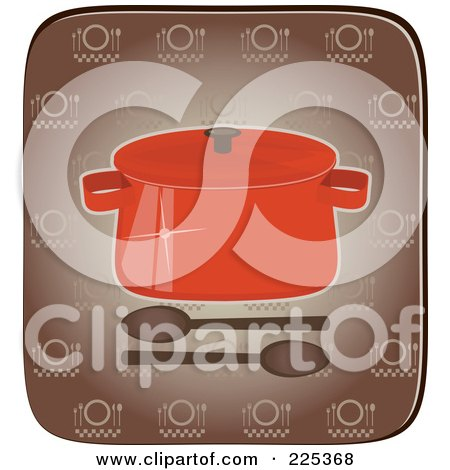 Royalty-Free (RF) Clipart Illustration of a Red Pot With Spoons Over A Brown Square by Melisende Vector