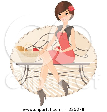 Royalty-Free (RF) Clipart Illustration of a Pretty Brunette Woman Sitting On A Bench With A Picnic Basket Of Food