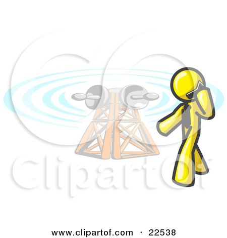 Clipart Illustration of a Yellow Businessman Talking on a Cell Phone, a Communications Tower in the Background by Leo Blanchette