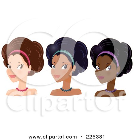 Royalty-Free (RF) Clipart Illustration of a Digital Collage Of Pretty Women With Headbands And Afro Hair Styles by Melisende Vector