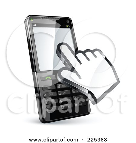 Royalty-Free (RF) Clipart Illustration of a 3d Hand Cursor Using A Cell Phone With Buttons by beboy
