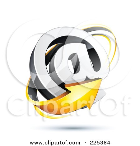 Royalty-Free (RF) Clipart Illustration of a 3d Orange Arrow Around An At Symbol, On A Shaded White Background by beboy